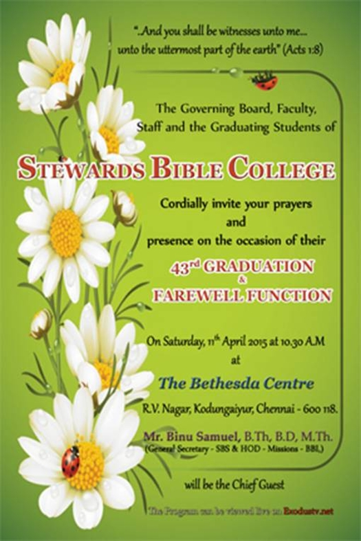 Event: Stewards Bible College – Graduation Ceremony, Tamil